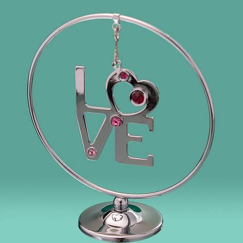 "Кольцо ""Love"" Crystocraft  0428-105/SL, фото 2"