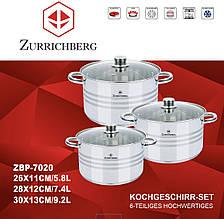 Каструлі Zurrichberg Kochgeschirr ZBP-7020 набір посуду 6 предметів кухонні каструлі