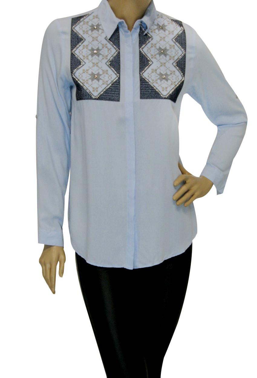 жіноча сорочка з вишивкою і перлинками із штапеля