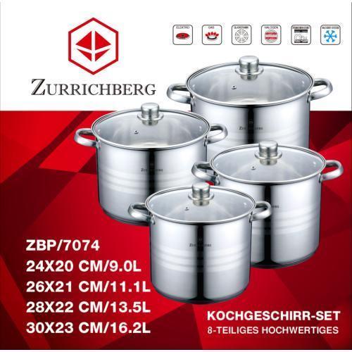 Кастрюли набор кухонный 4 шт Zurrichberg Kochgeschirr ZBP-7074 набор посуды 8 предметов качественные