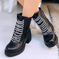 Женские ботинки на устойчивом каблуке, фото 1