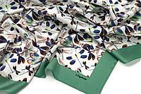 Женский шелковый платок, с авторским принтом. Платок со стрекозами. Платок на подарок.