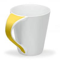 Чашка Симона с цветной ручкой 300 мл, желтая, от 10 шт