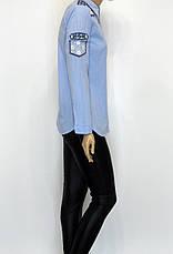 голуба сорочка з вишивкою і перлинками , фото 2