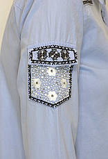 голуба сорочка з вишивкою і перлинками , фото 3