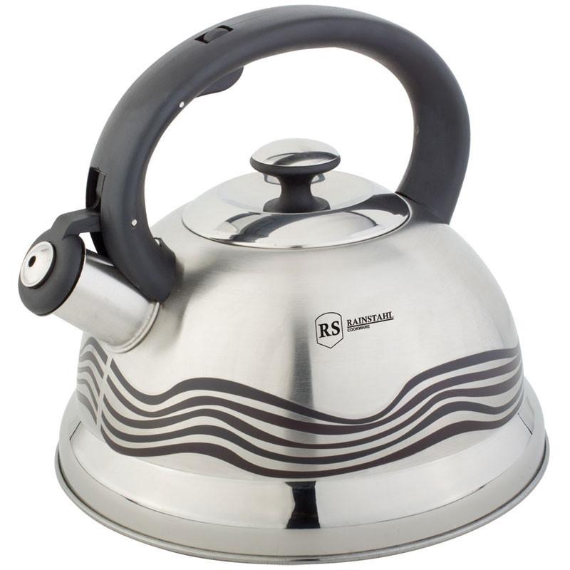 Rainstahl RS 7640 чайник 2.7 літра зі свистком сталевий колір для всіх плит