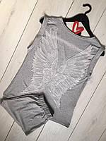 Пижама майка+шорты из вискозы- белые крылья ангела.