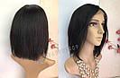 💎 Женский парик на сетке, каре из натуральных волос, чёрный 💎, фото 3