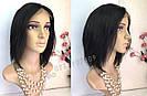 💎 Женский парик на сетке, каре из натуральных волос, чёрный 💎, фото 6