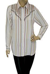 жіноча сорочка в полоску з вишивкою і стразами