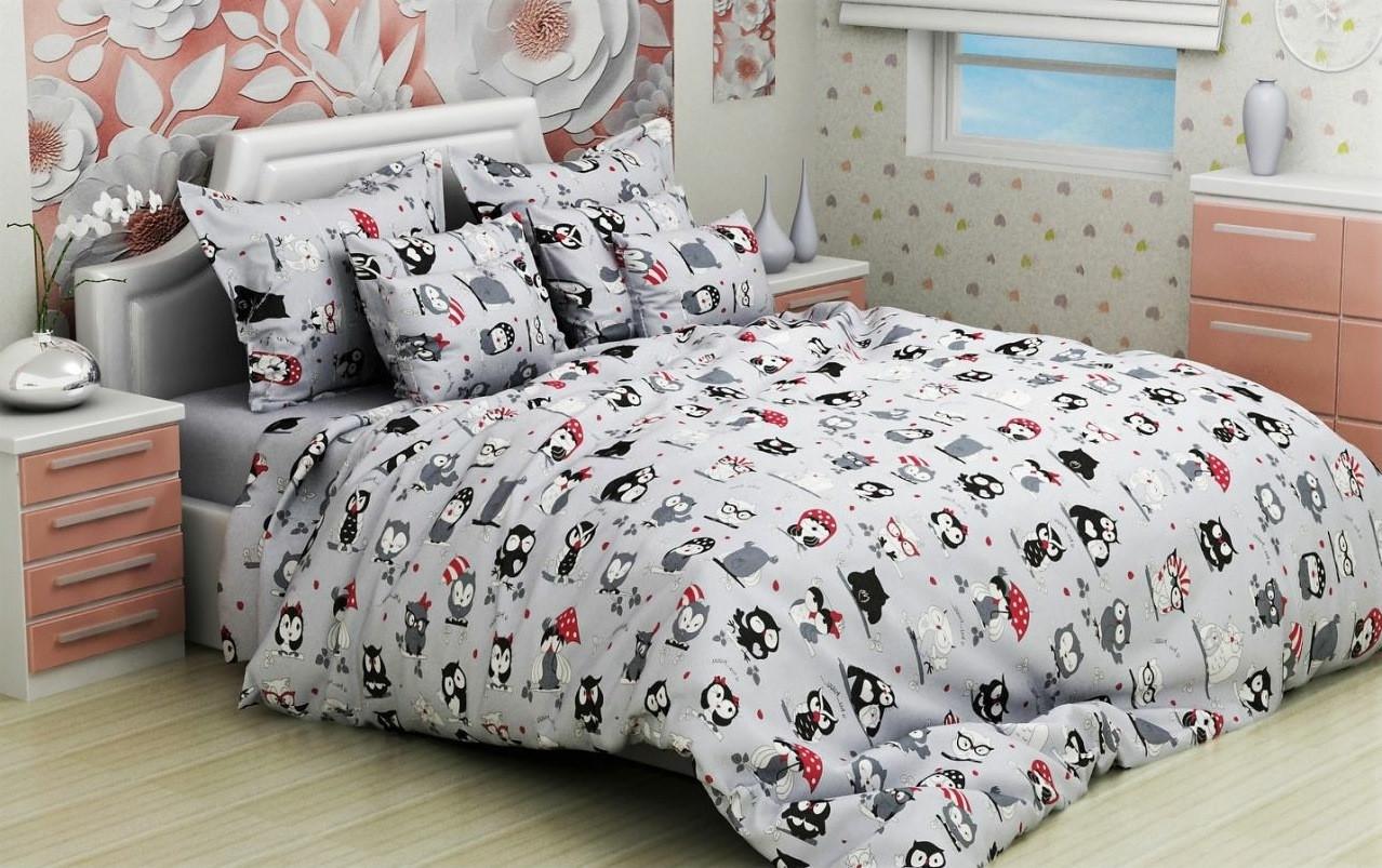 Детское постельное белье в кроватку, совушки, бязь (110х140) 100% хлопок