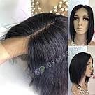 Парик из натуральных волос чёрный, каре на сетке, фото 10