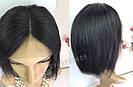 Парик из натуральных волос чёрный, каре на сетке, фото 4