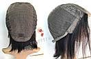 Парик из натуральных волос чёрный, каре на сетке, фото 7