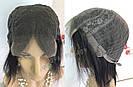 Парик из натуральных волос чёрный, каре на сетке, фото 8