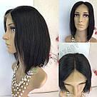 Парик из натуральных волос чёрный, каре на сетке, фото 9