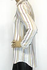 жіноча сорочка в полоску з вишивкою і стразами, фото 3