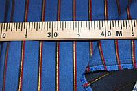 Синий золотая полоса №390 Ткань бенгалин , плотный -растяжение по долевой! полоса, фото 1