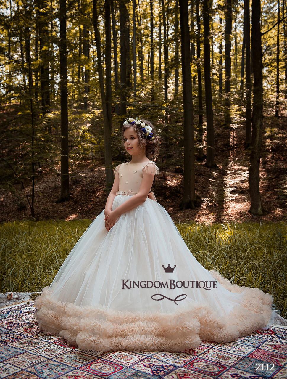 Сукня святкова дитяче довге вечірнє шлейфовое.
