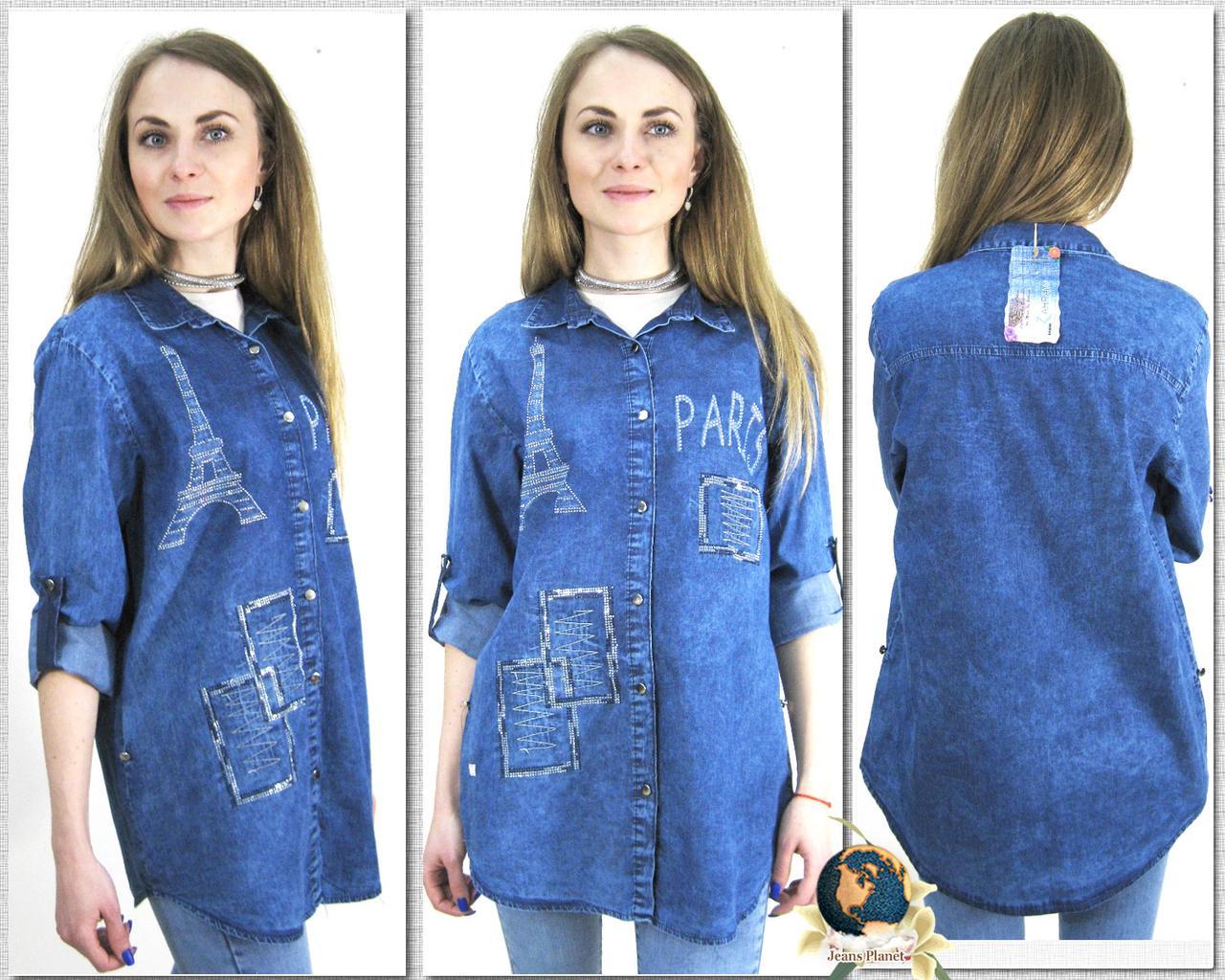 Модная женская джинсовая рубашка-туника батального размера Paris
