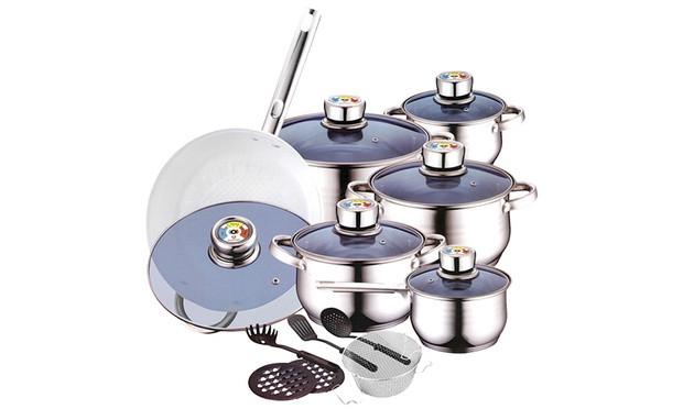 Кухонная посуда Zurrichberg ZB - 8015 швейцарской качество 18 предметов хромоникелевые кастрюли