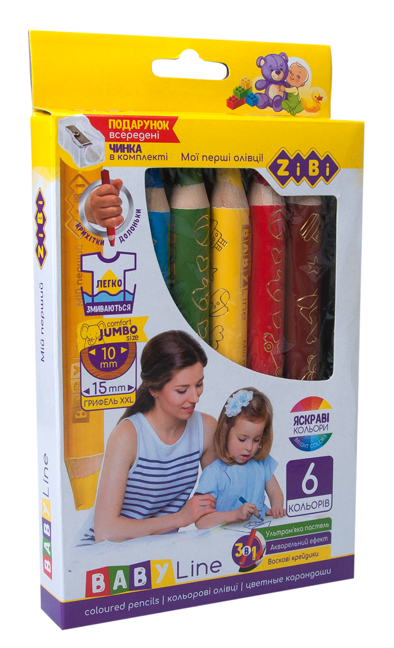 Кольорові олівці mini SUPER JUMBO, з чинкою 6 кольорів, трикутні