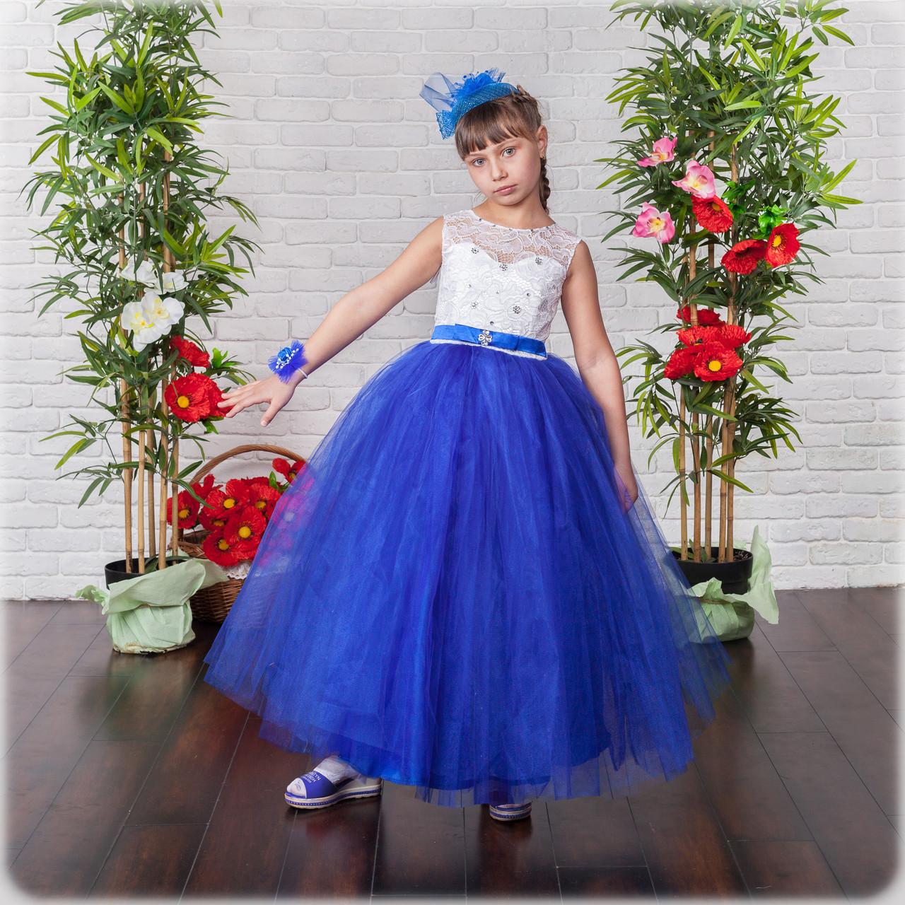 Пышное бальное платье с синей фатиновой юбкой на выпускной вечер 6-10 лет