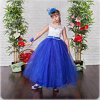 Пышное бальное платье с синей фатиновой юбкой на выпускной вечер 6-10 лет, фото 1