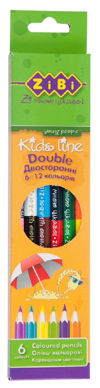 Олівці кольорові двосторонні 6 олівців (12 кольорів) Double
