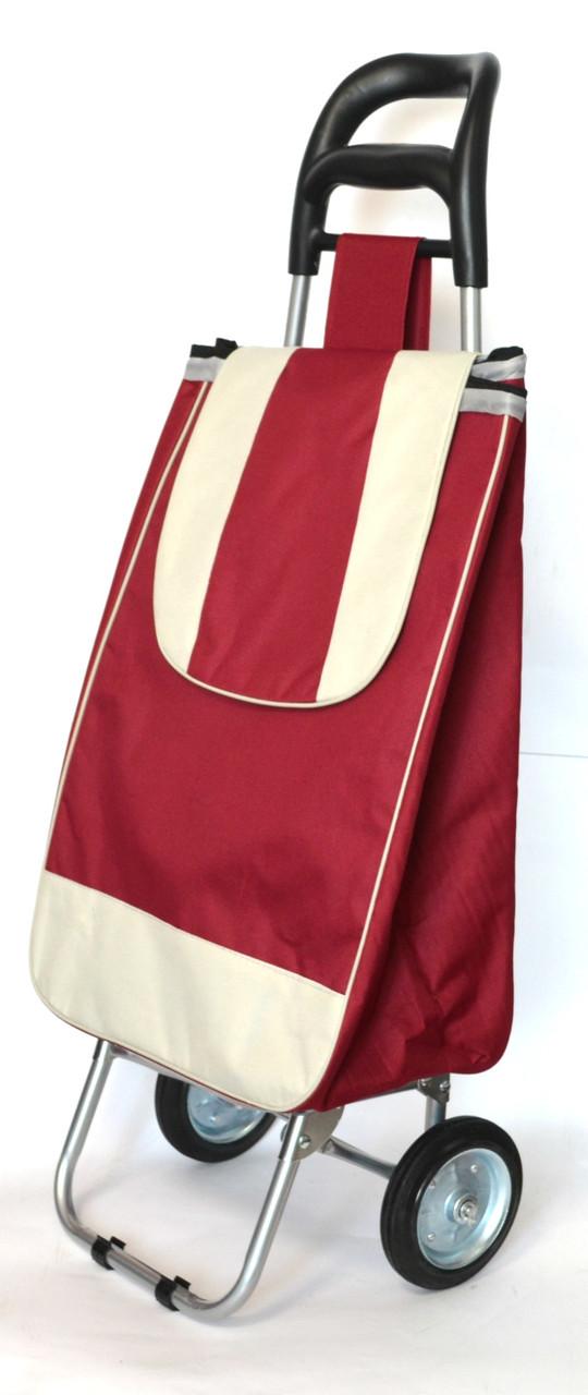 Хозяйственная сумка тележка Xiamen с железными колесами Shoping burgundy (0038)
