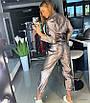 Женский комбез/костюм из стрейчевой экокожи металл 18ks1008, фото 3