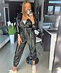 Женский комбез/костюм из стрейчевой экокожи металл 18ks1008, фото 5