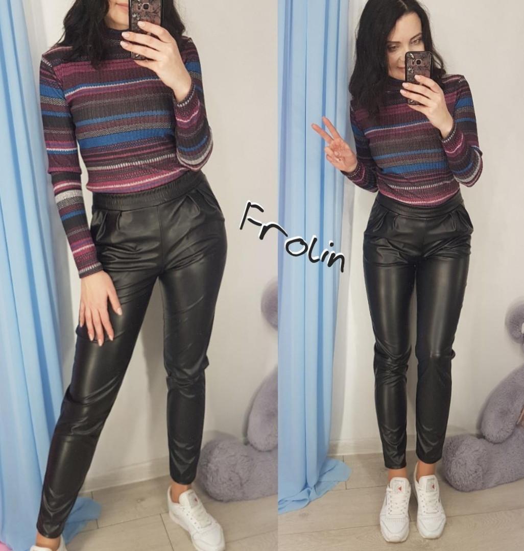 Женские кожаные штаны зауженные черные 57bu327