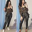 Женские кожаные штаны зауженные черные 57bu327, фото 2