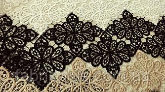 Кружево  Флора  черный-белый-беж