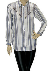 Жіноча сорочка в полоску декорована вишивкою