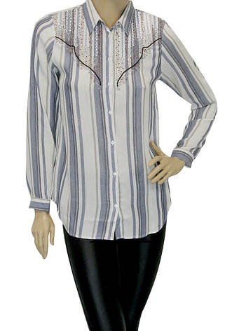 Жіноча сорочка в полоску декорована вишивкою, фото 2