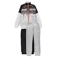 Спортивный костюм для мальчика  из трех частей с двойными брюками MEK   191MHEP003 черный с белым 140, 170