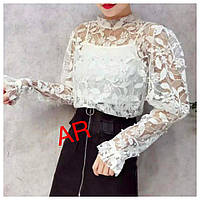 Женская блуза из гипюра с жемчужинами в расцветках. АР-14-0620