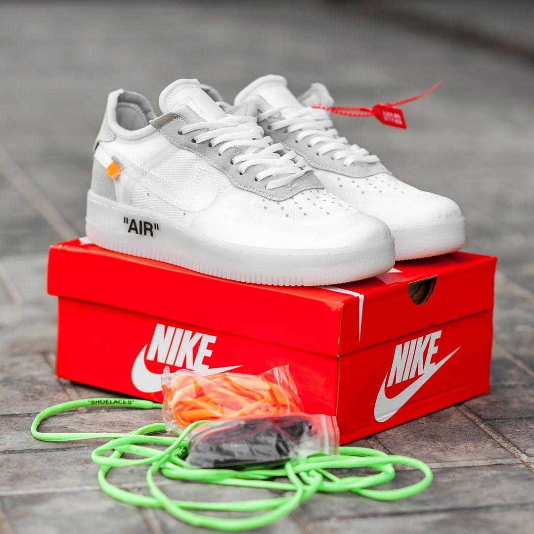 Мужские кроссовки Nike Air Force 1 Low Off-White. Кожа