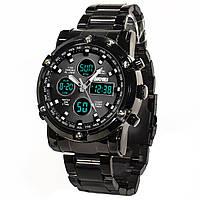 Часы SKMEI 1389 Black двойной механизм стальные спортивные с указателем влагозащищенные нержавейка