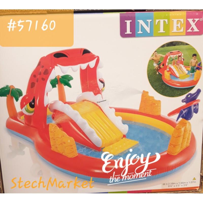 """Детский надувной центр с горкой """"Счастливый Динозавр"""" Intex 57160"""