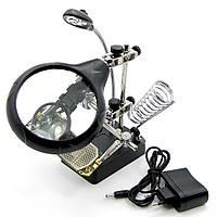 Держатель плат и паяльника MG16129-A с LED-подсветкой и двойной лупой (большая лупа d=90 мм, 2x; малая лупа