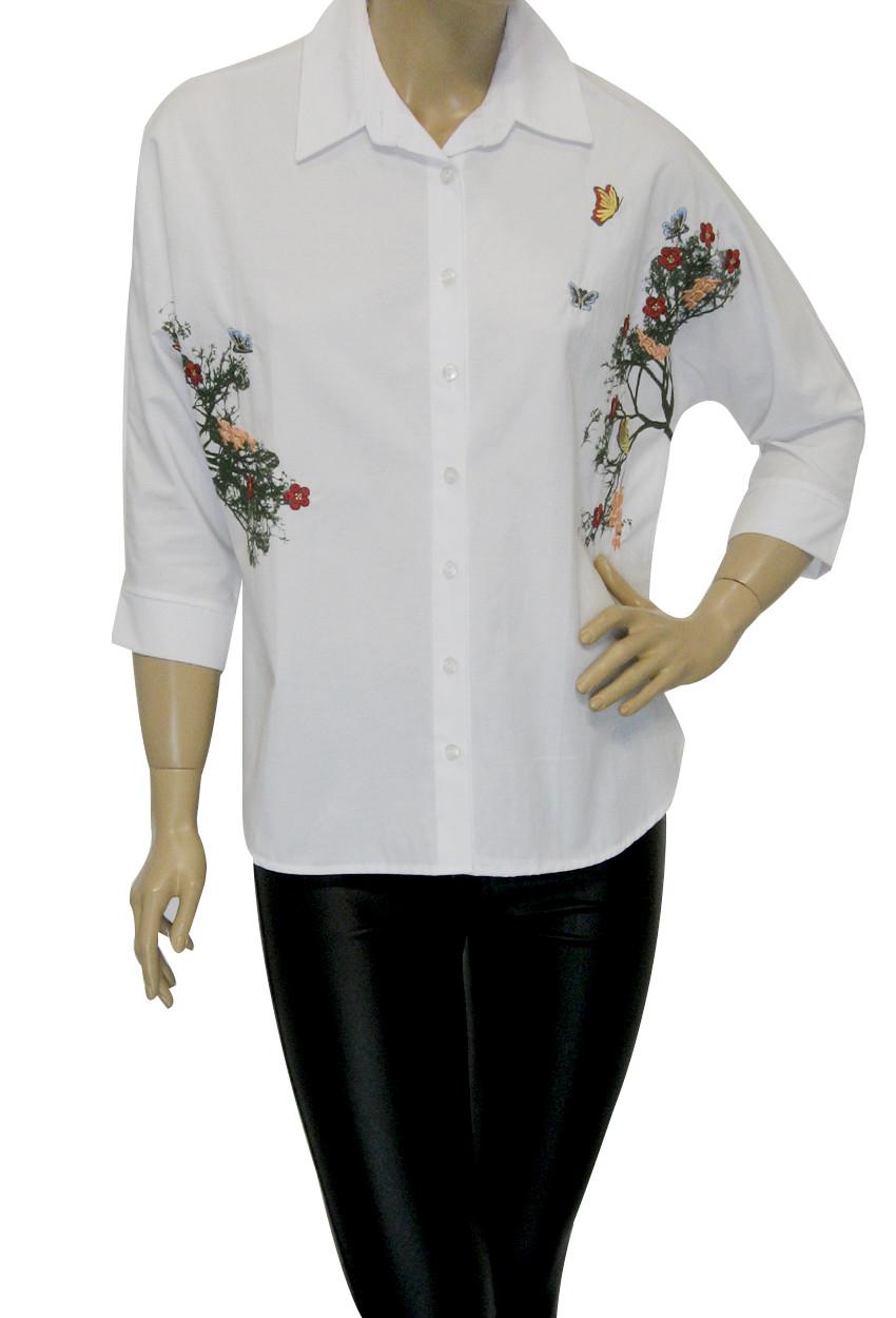 Жіноча біла блузка з принтом і вишивкою KTN