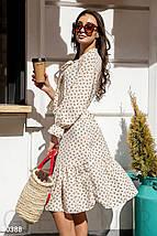 Стильное платье свободного кроя с поясом миди с воланом рукав три четверти белого цвета, фото 3