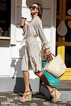 Стильное платье свободного кроя с поясом миди с воланом рукав три четверти белого цвета, фото 2