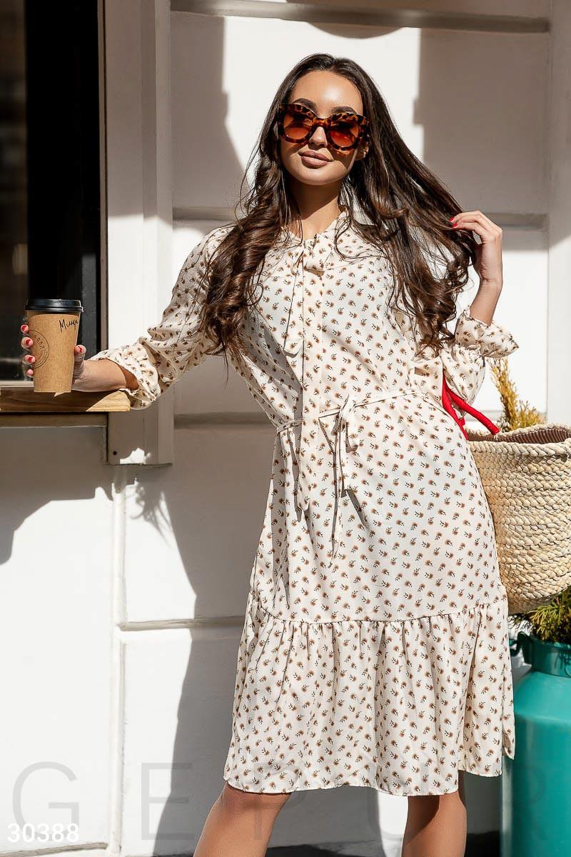 Стильное платье свободного кроя с поясом миди с воланом рукав три четверти белого цвета