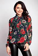 Шифоновая блуза LAURETTA с бантом в крупные цветы