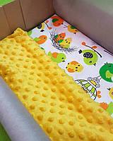 Плед Птички плюш желтый минки+ткань