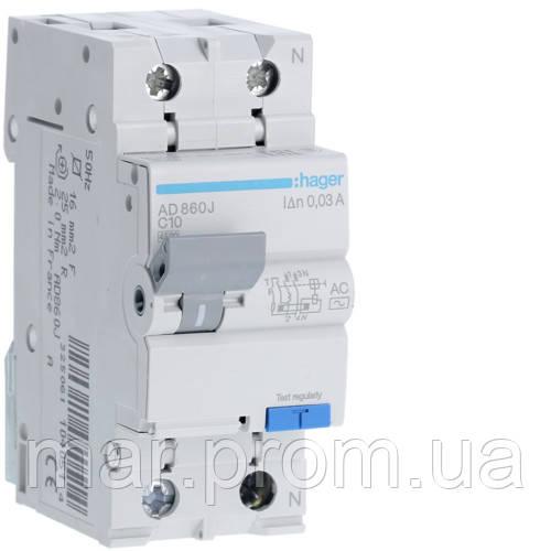 Дифференциальный автоматический выключатель 1P + N 4.5kA C-10A 30mA AC